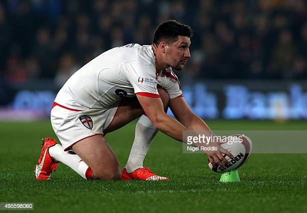 Gareth Widdop of England during the International Rugby League Test Series match between England and New Zealand at KC Stadium on November 1 2015 in...