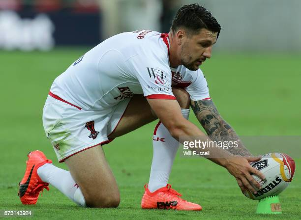 Gareth Widdop of England prepares to kick a conversion during the 2017 Rugby League World Cup match between England and France at nib Stadium on...