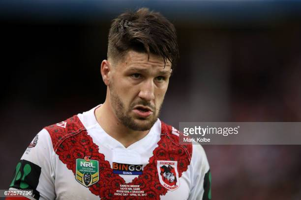 Gareth Widdop of the Dragons looks dejected as he leaves the field with an injury during the round eight NRL match between the Sydney Roosters and...