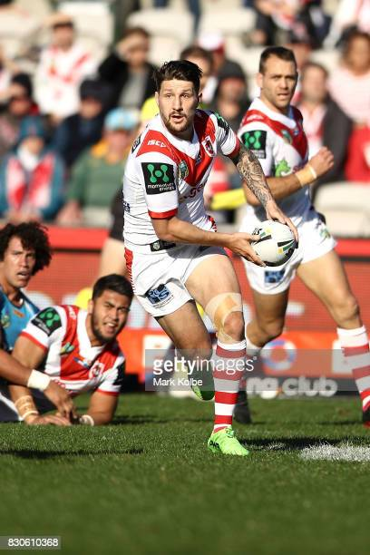 Gareth Widdop of the Dragons runs the ball during the round 23 NRL match between the St George Illawarra Dragons and the Gold Coast Titans at UOW...