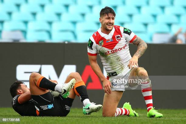 Gareth Widdop of the Dragons scores a try during the round 13 NRL match between the St George Illawarra Dragons and the Wests Tigers at ANZ Stadium...