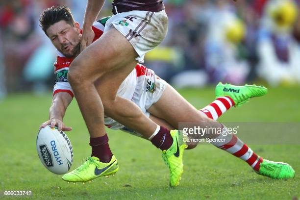 Gareth Widdop of the Dragons scores a try during the round six NRL match between the Manly Sea Eagles and the St George Illawarra Dragons at...