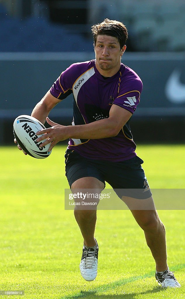 Gareth Widdop of the Storm passes the ball during a Melbourne Storm and Melbourne Rebels training session at Visy Park on January 17, 2013 in Melbourne, Australia.