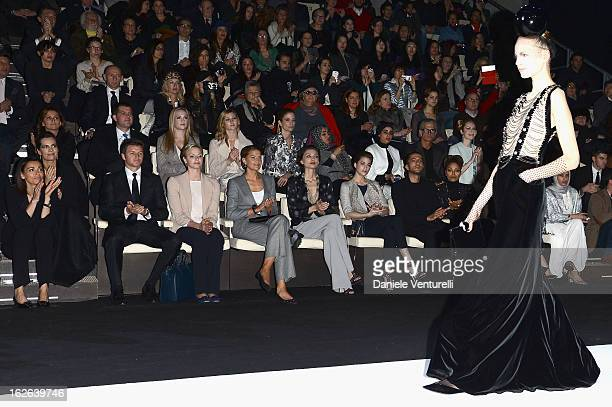 Gareth Wittstock Princess Charlene of Monaco Solene Hebert Margareth Made Wissam al Mana and Janet Jackson attend the Giorgio Armani fashion show...
