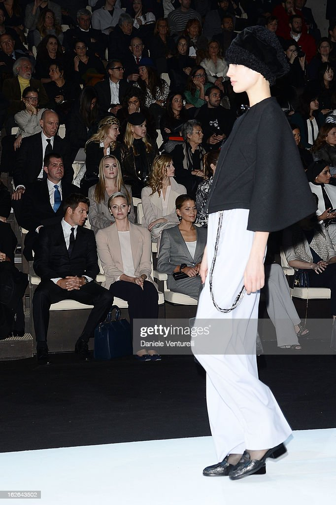 Gareth Wittstock, Princess Charlene of Monaco, Solene Hebert, Margareth Made, Wissam al Mana and Janet Jackson attend the Giorgio Armani fashion show during Milan Fashion Week Womenswear Fall/Winter 2013/14 on February 25, 2013 in Milan, Italy.