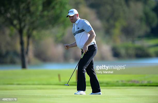 Gareth Wright of West Linton Golf Club celebrates sinking his putt on the 18th green to win the PGA Play Offs during the fourth round of the PGA...