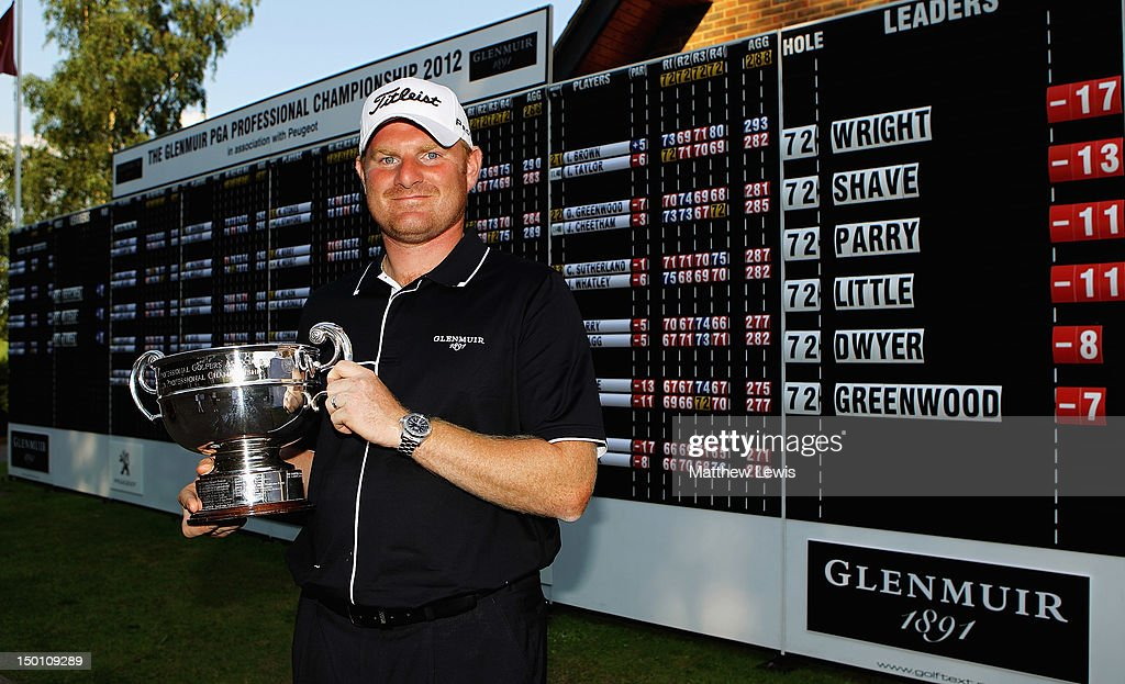 Gareth Wright of West Linton Golf Club pictured after winning the Glenmuir PGA Professional Championship at Carden Park Golf Club on August 10, 2012 in Chester, England.