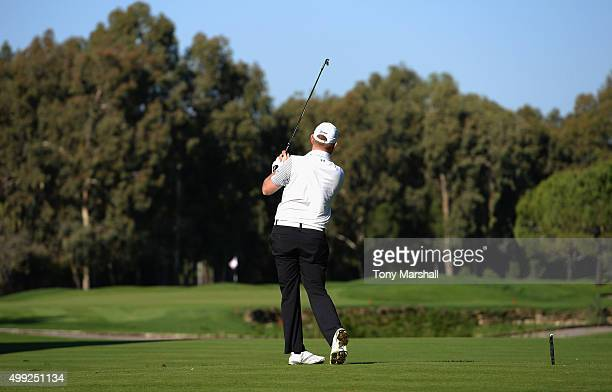 Gareth Wright of West Linton Golf Club plays his first shot on the 8th tee during the fourth round of the PGA PlayOffs at Antalya Golf Club PGA...