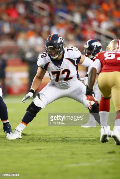 Garett Bolles of the Denver Broncos drops back to protect the quarterback against the San Francisco 49ers at Levi's Stadium on August 19 2017 in...