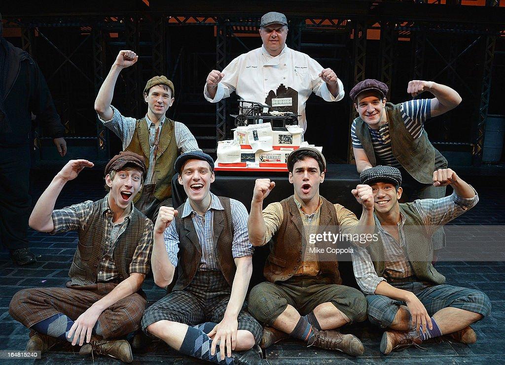 Garett Hawe, Evan Kasprzak, (Bottom L-R) Ryan Breslin,John Michael Fiumara, Tommy Bracco, and Aaron J. Albano attend 'Newsies' Broadway One Year Celebration at Nederlander Theatre on March 28, 2013 in New York City.