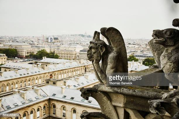 Gargoyle atop Norte-Dame Cathedral with Paris in background