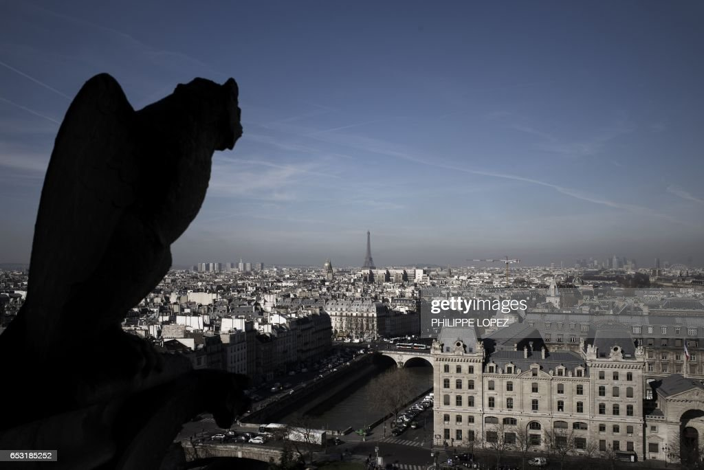 A gargoyle looks out towards the Eiffel Tower and a view of the French capital Paris from the tower of Notre Dame Cathedral on March 14, 2017. Paris in December 2016 suffered from a high air pollution index. /
