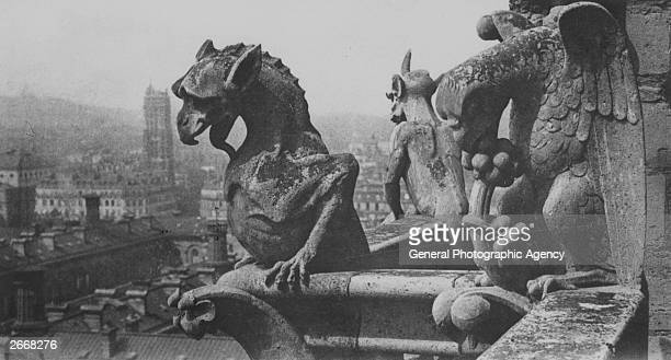 Gargoyles on the cathedral of Notre Dame on the Ile de la Cite in central Paris