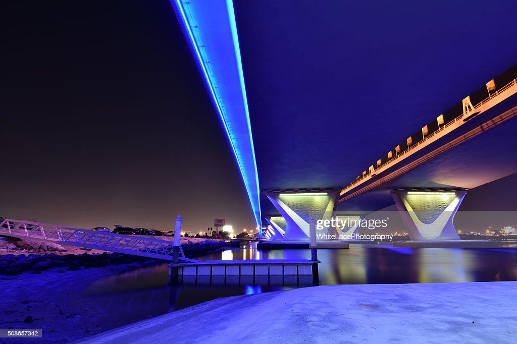 Garhoud Bridge from base at night with long exposure, Dubai : Stock Photo