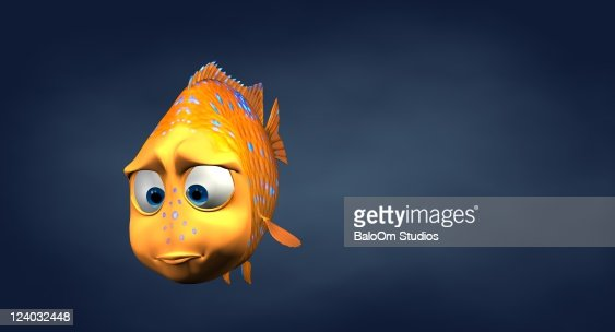 Garibaldi fish in 3d cartoon