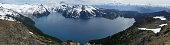 Panoramic view of Garibaldi lake and surrounding mountains from Panorama ridge lookout point.