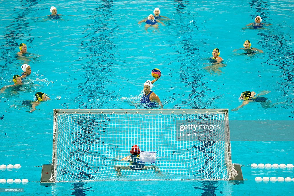 Garibotti Arianna of Italy throws the ball during day three of the FINA Women's World League Super Final 2013 match between Australia and Italy at National Aquatics Center on June 3, 2013 in Beijing, China.