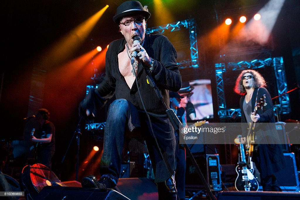 Garik Sukachev performs on stage during live concert in Crocus City Hall on February 13, 2016 in Moscow, Russia.
