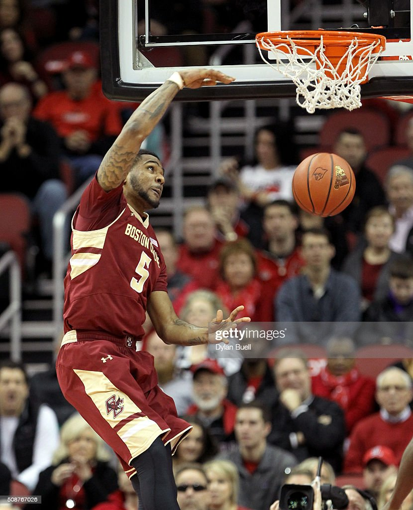 Garland Owens #5 of the Boston College Eagles dunks during the first half against the Louisville Cardinals at KFC Yum! Center on February 6, 2016 in Louisville, Kentucky.
