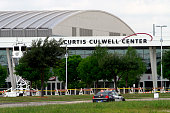 Garland Police car is parked outside of the Curtis Culwell Center after a shooting occurred the day before May 04 2015 in Garland Texas During the...