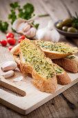 Homemade garlic  bread and herb