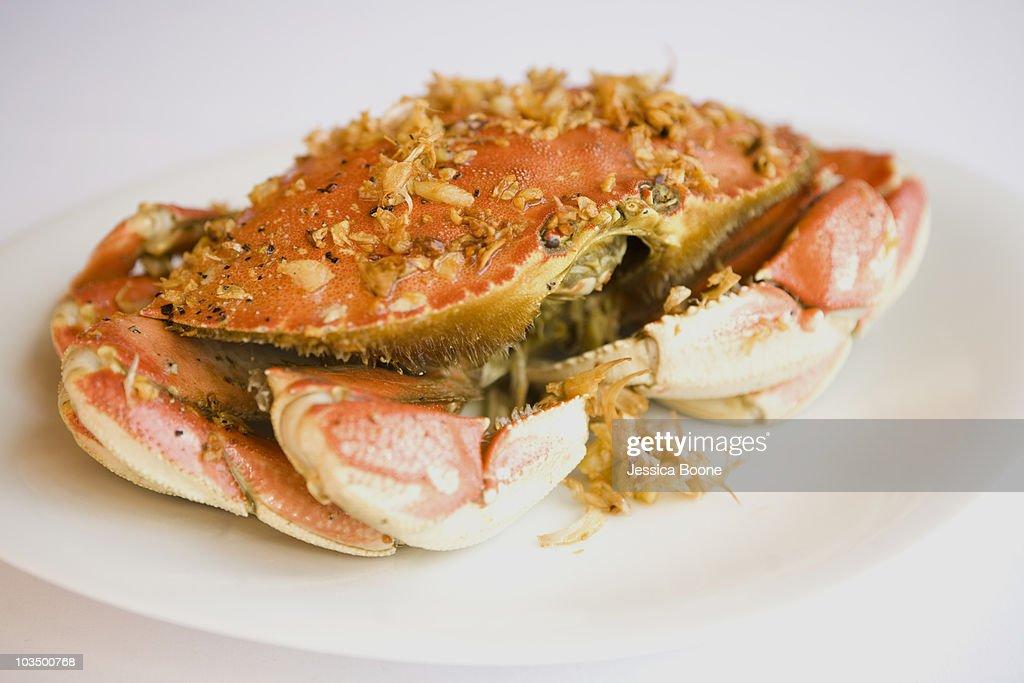 garlic encrusted crab : Stock Photo