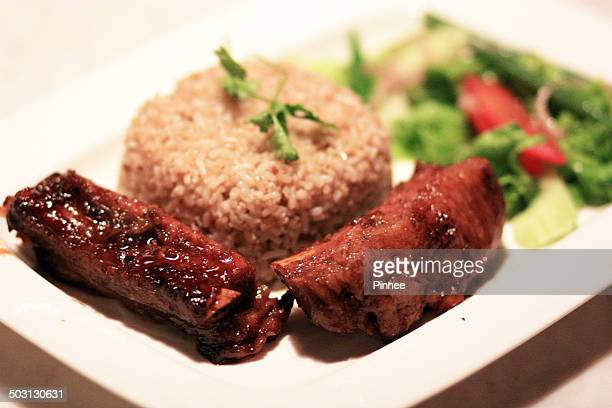 Garlic fried rice with honey grilled pork rib