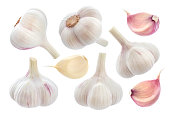 Garlic isolated on white background with clipping path. Collection