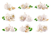 set of garlic on a white background