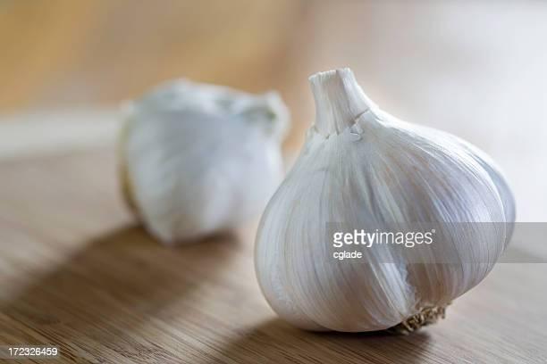 Garlic on Cutting Board Macro