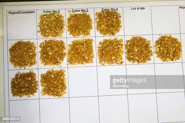 Garlic samples sit on a piece of paper at a quality control area of the Nithi Foods Co factory in the San Pa Tong district of Chiang Mai Thailand on...