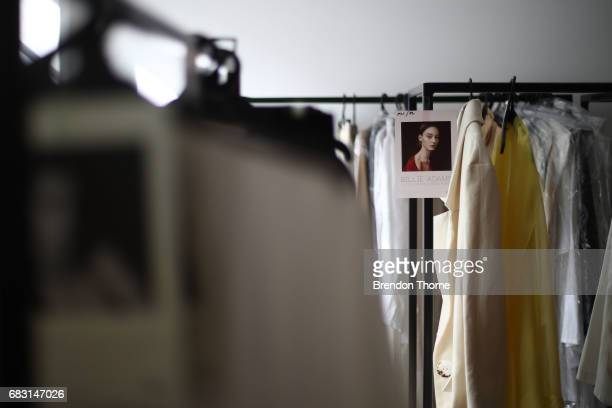 Garments are seen backstage ahead of the Albus Lumen show at MercedesBenz Fashion Week Resort 18 Collections at La Porte Deux on May 15 2017 in...