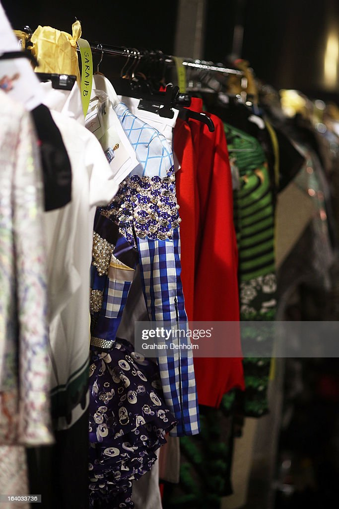 Garments are seen backstage prior to the L'Oreal Melbourne Fashion Festival Opening Event presented by David Jones at Docklands on March 19, 2013 in Melbourne, Australia.