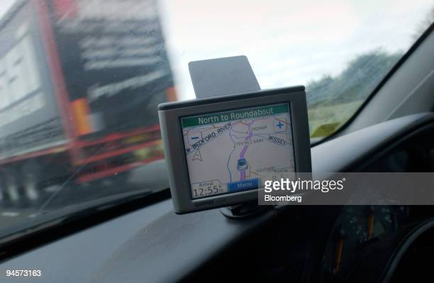 Garmin satellite navigation system sits on the dashboard of a car in Norfolk UK on Wednesday Oct 31 2007 Garmin Ltd the biggest US maker of car...