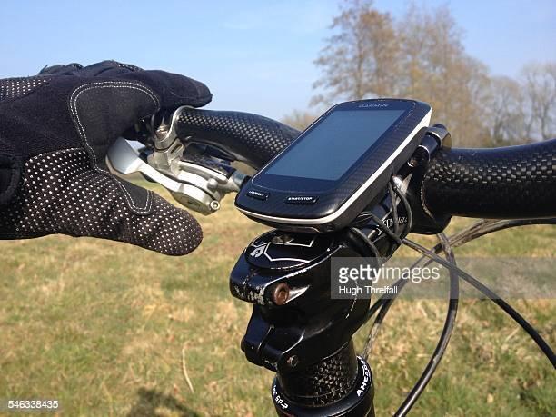 Garmin satnav used on a mountain bike to help find ones way