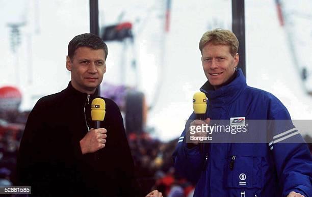 GARMISCH PARTENKIRCHEN GERMANY JANUARY 01 VIERSCHANZENTOURNEE 99/00 GarmischPartenkirchen MEDIEN RTL MODERATOR Guenther JAUCH Dieter THOMA