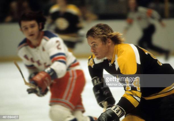 Garnet 'Ace' Bailey of the Boston Bruins skates on the ice during an NHL game against the New York Rangers circa 1972 at the Madison Square Garden in...
