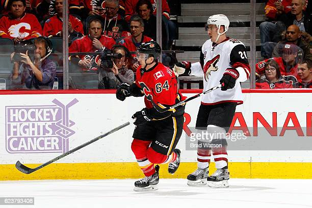 Garnet Hathaway of the Calgary Flames skates against Michael Stone of the Arizona Coyotes during an NHL game on November 16 2016 at the Scotiabank...