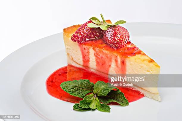 Garnished strawberry cheesecake
