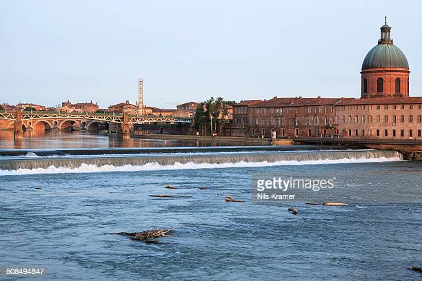Garonne river, in back Hopital de La Grave in the evening light, Toulouse, Midi-Pyrenees France