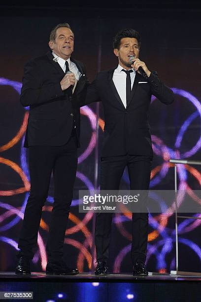 Garou and Vincent Niclau attend 30th Telethon at Hippodrome de Longchamp on December 3 2016 in Paris France