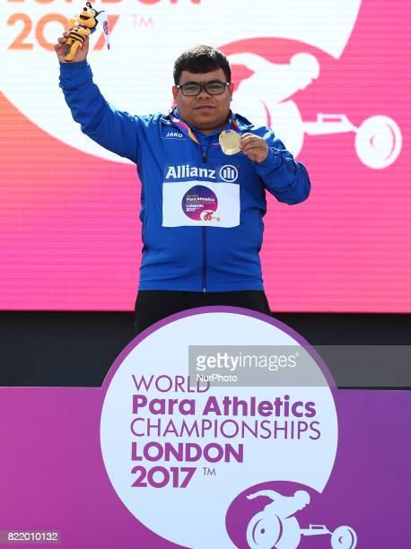 Garrah Tnaiash of Ireq receive his gold medal Men's Shot Put T40 Final during World Para Athletics Championships at London Stadium in London on July...