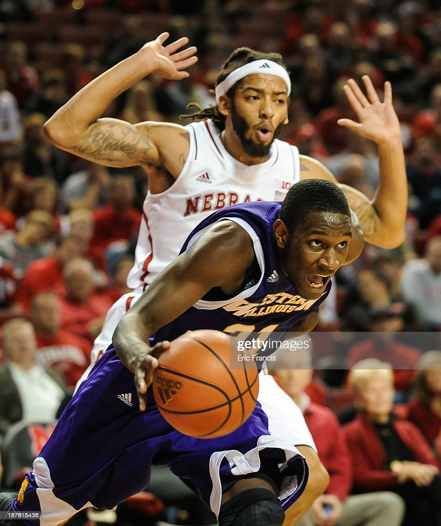 Garret Covington #31 of the Western Illinois Leathernecks drives past Terran Petteway #5 of the Nebraska Cornhuskers during their game at Pinnacle Bank Arena on November 12, 2013 in Lincoln, Nebraska.