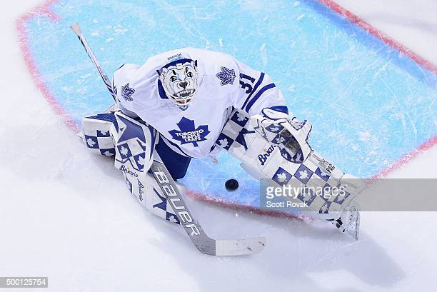 Garret Sparks of the Toronto Maple Leafs allows a goal against the St Louis Blues at the Scottrade Center on December 5 2015 in St Louis Missouri