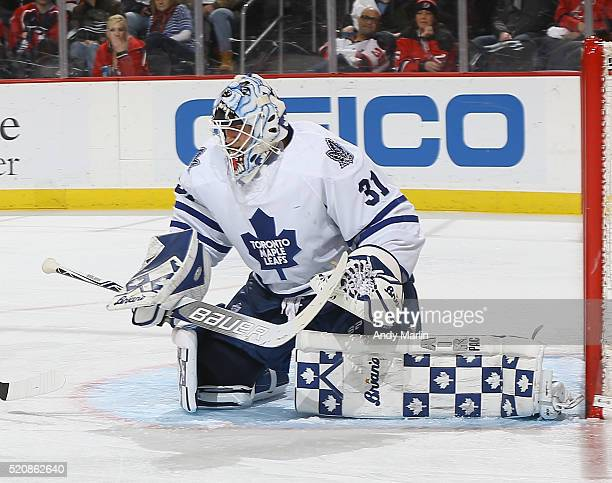 Garret Sparks of the Toronto Maple Leafs defends his net during the game against the New Jersey Devils at Prudential Center on April 9 2016 in Newark...