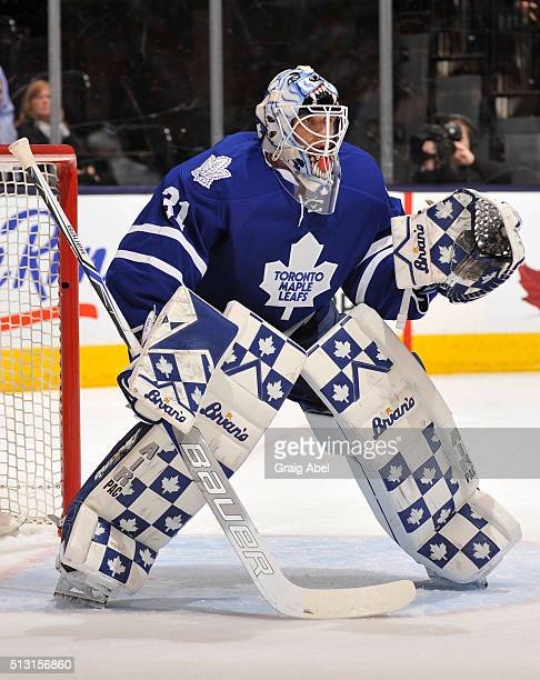 Garret Sparks of the Toronto Maple Leafs defends the goal during NHL game action against the Tampa Bay Lightning February 29 2016 at Air Canada...
