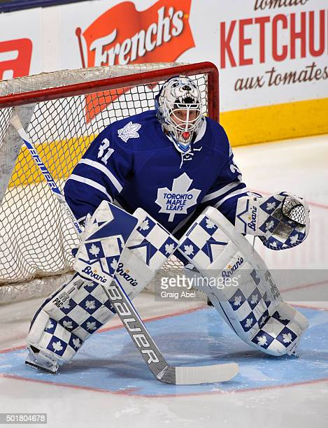 Garret Sparks of the Toronto Maple Leafs defends the goal during warm up prior to NHL game action against the San Jose Sharks December 17 2015 at Air...