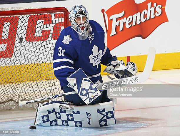 Garret Sparks of the Toronto Maple Leafs faces a shot during the warmup prior to play against the Tampa Bay Lightning in an NHL game at the Air...