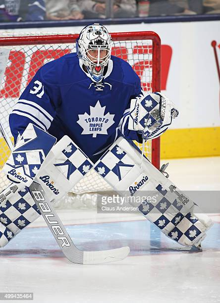 Garret Sparks of the Toronto Maple Leafs gets set to face a shot against the Edmonton Oilers during an NHL game at Air Canada Centre on November 30...