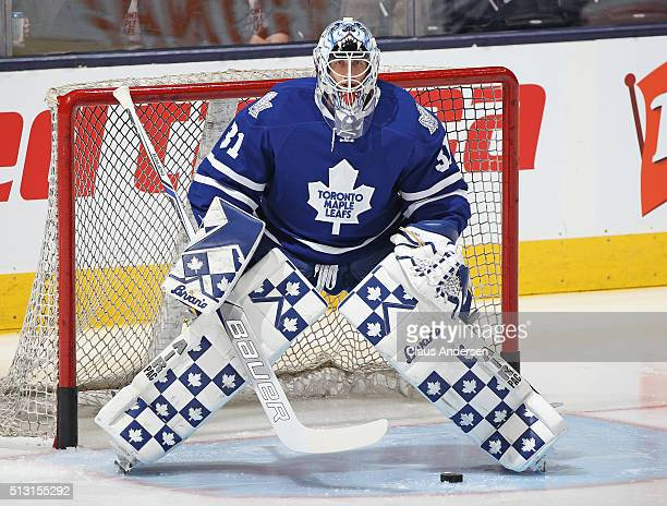 Garret Sparks of the Toronto Maple Leafs gets set to face a shot during the warmup prior to play against the Tampa Bay Lightning in an NHL game at...